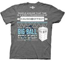 Adult Gray Science Fiction TV Show Doctor Who Wibbly Wobbly Quote T-Shirt Tee