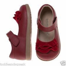 Little Blue Lamb Girls Infant Red Ruffle Leather Toddler Shoes