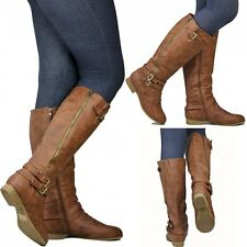 New Womens Tc55  Tan Buckle Knee High Riding Boots sz 5 to 10