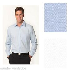 NEW MENS MINI HERRINGBONE LONG SLEEVE SHIRT BUSINESS CASUAL DRESS WORK SHIRTS