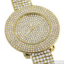 Gold Tone Fully Iced Out 4 Row Bezel Bling Hip Hop Watch