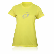 Asics Graphic Womens Yellow Short Sleeve Breathable Gym Running Sports T-Shirt