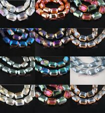 Bulks Glass Crystal Faceted Rectangle Bead Loose Spacer Findings 18x12mm Charms