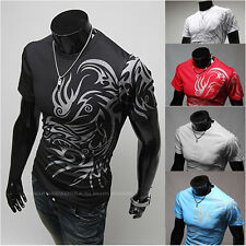 Men's Dragon Devil Tattoo Printed T-Shirt Short Sleeve Tee Tops Casual Shirts