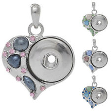 Wholesale Love Heart Charm Pendant Fit Snap Buttons Rhinestone