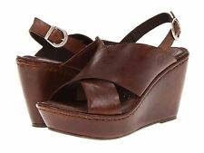 New Womens Born Emmy Wedge Sandal Heels Leather Shoes SZ 6 7 8 9 10 Brown