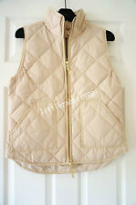 NWT J. Crew Factory Excursion Quilted Puffer Vest In Warm Beige Size: XXS-XL
