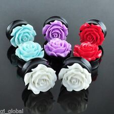 Pair Acrylic Rose Ear Plugs Flesh Tunnels Gauges Flower White Purple Red Green