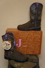 LADIES JUSTIN GEORGE STRAIT WORKBOOT GSL9040 BROWN W/ PURPLE STITCHING!! NIB!