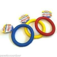 """Dog toy rubber ring 7"""" or 3.5"""" puppy fetch chew tough toys solid rubber Classic"""