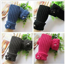 FASHION WOMEN KOREAN STYLE WINTER HALF WOOL FINGERLESS WARM GLOVES HOOK LACE