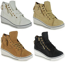 WOMENS LADIES ANKLE LACE UP GOLD FLAT HI-TOP WEDGE SHOES BOOTS TRAINERS SIZE