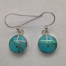 Sterling Silver Small Inlay Sun Face Hook Dangle Earrings