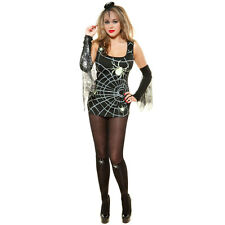 HALLOWEEN BLACK WIDOW SPIDER FANCY DRESS COSTUME OUTFIT,  SIZES: S-XL
