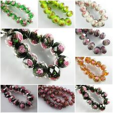 New 12mm Rondelle Faceted Glass Crystal Rose Flower Inside Lampwork Beads Spacer