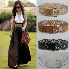 Hot Women Lady Tie Wide PU Leather Hollow Buckle Waistband Waist Belt 4Colors