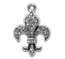 Wholesale Lots Clear Rhinestone Fleur-De-Lis Charm Pendants 24x16mm
