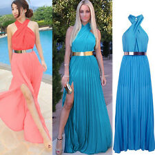 Sexy Women Maxi Dresses Bandage Evning Cocktail Party Long Halter Pleated Dress