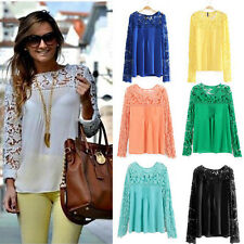 Fashion Womens Summer Chiffon Long Sleeve Blouse Sexy Lace Casual T-shirt Tops 5