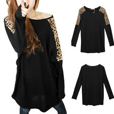 Fashion Women's Batwing Top Dolman Loose T-Shirt Leopard Blouse Top Long Sleeves