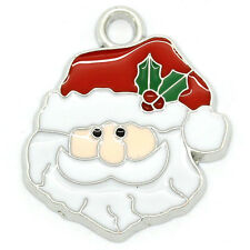 Wholesale HOT!Charm Pendants Enamel Father Christmas Silver Tone 24mmx21mm