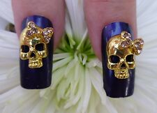 *BLING* 3D Alloy Metallic Nail Art Gold *Skull* Decoration With Rhinestone Bow