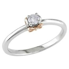 1/6 CT.T.W. Round Diamond Bow Prong Set Promise Ring Sterling Silver & 14K Ro...
