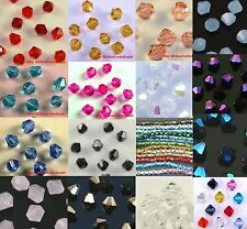 100pcs Lots Loose Glass Crystal Clear/Black/Blue/Rose Bicone Spacer Beads 4mm
