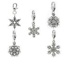 Wholesale HOT! Jewelry Christmas Snowflake Clip On Charm Fit Chain Bracelet