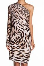 Young Fabulous and Broke Waverly Dress Leopard Mini Brown One Shoulder Sleeve