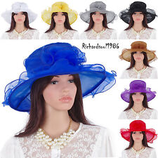 Lady Elegant Kentucky Derby Summer Hat Wide Brim Wedding Dress Church Event Hats