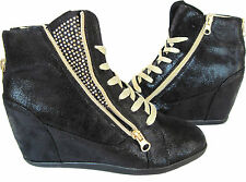 BLACK FASHION HIGH TOP SNEAKER LACE UP  MED HEEL HIDDEN WEDGE ANKLE BOOTIE
