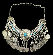 2014 Hot Zamac Handcraft Resin Gem Carving Metal Coin Fringe Statement Necklace