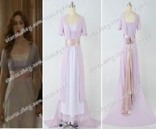 Titanic Rose Cosplay Costume Tailed Dress Women Purple Gown New High Quality