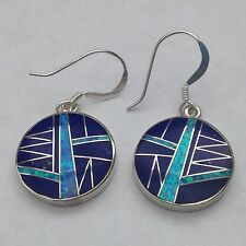 Sterling Silver Inlay Round Shaped Hook Dangle Earrings