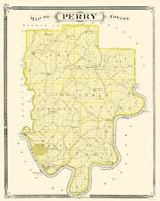 Old County Map - Perry Indiana - Baskin 1876 - 23 x 28.82