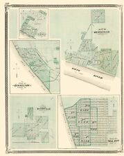 Old City Map - Troy, Cannelton, Newburgh, Tell City Indiana 1876 - 23 x 28.88