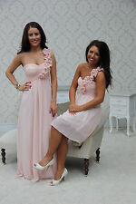 DUSKY PINK 1 SHOULDER CHIFFON BRIDESMAID DRESS EVENING PROM LONG & SHORT PASTEL