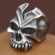 Punk Titanium Steel Mens Silver Pirate Skull Skeleton Goth Biker Finger Ring NEW