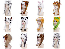 Cartoon Animals Fluffy Plush Hat Cap Winter Warm Women Earmuff Beanie Scarf Hood