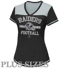 NWT Oakland Raiders NFL Women's Plus Size Curved Hem V-Neck T-Shirt