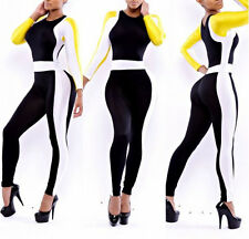 Womens Colorblock Stretch Bodycon Cocktail Clubwear Party Romper Jumpsuit Outfit