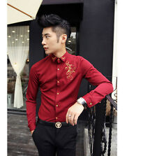 New Mens  Long Sleeve Elegant Embroidered Smart Fitted Casual Shirt Tops 4 Size