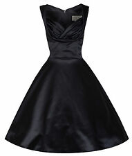 NEW LINDY BOP 'OPHELIA' CHIC VINTAGE 1950's BLACK SATIN EVENING/COCKTAIL DRESS
