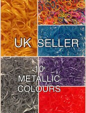 600 METALLIC LOOM BANDS GOLD SILVER w/24 S-CLIPS COLOURS RAINBOW RUBBER BRACELET