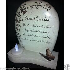 Memorial GravesideTealight Stone Plaque With Special Message For Loved Ones