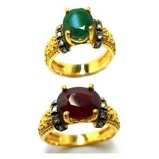 Rose Cut Diamond , Emerald Or Ruby Gold Plated Antique Style Jewelry Ring Size7