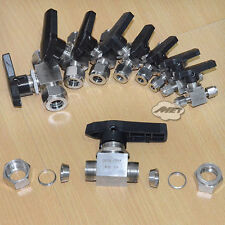 """3mm-18mm 1/8""""-3/4"""" Compression Lever Handle Ball Valve Fitting Double Ferrule"""