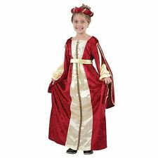 Regal Red Princess Queen Tudor Medieval girls Fancy Dress Costume Sizes 4 - 13