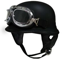 DOT German Motorcycle Half Helmet Chopper Cruiser Biker Matte/Flat Black+Goggles